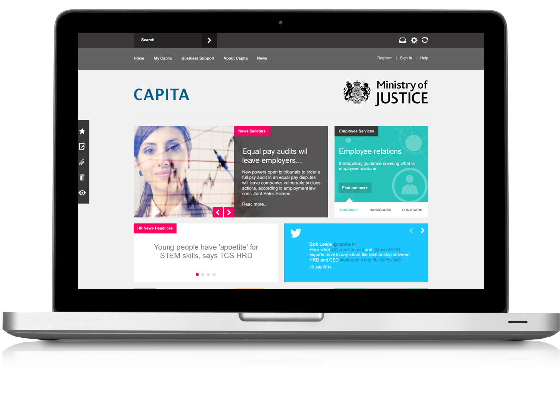 Capita HR Intranet Redesign Homepage