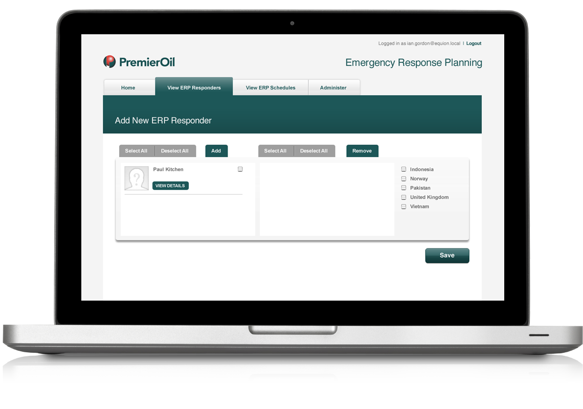 Premiier Oil Contacts Application Add new responder