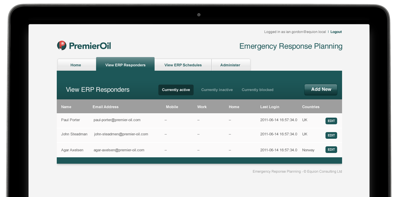 Premiier Oil Contacts Application - view responders