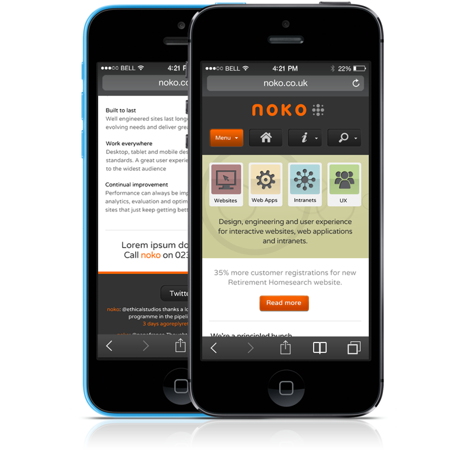 Mobile view of the Noko homepage